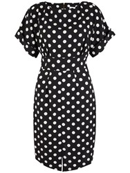 Closet Polka Dot Split Dress Black White