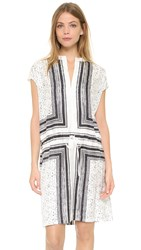 Vince Scarf Print Dress Off White Black