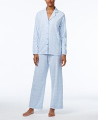 Charter Club Petite Fleece Pajama Set Only At Macy's Blue Geo