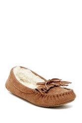 Gold Toe Faux Fur Moccasin Slipper Beige
