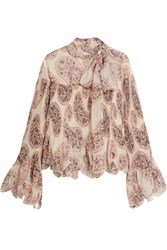 See By Chloe Paisley Print Plisse Chiffon Pussy Bow Blouse Ivory