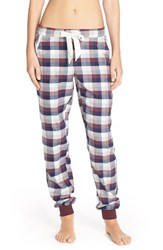 Women's Make Model Flannel Jogger Pants Burgundy Stem Check Mate Plaid