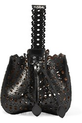 Alaia Bracelet Laser Cut Leather Bucket Bag Black