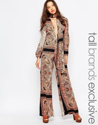 Glamorous Tall 70'S Printed Plunge Front Wide Leg Jumpsuit Multi