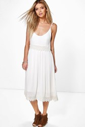 Boohoo Crochet Insert Strappy Midi Dress Ivory
