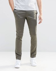 Asos Super Skinny Trousers In Cotton Sateen In Khaki Forest Night Green