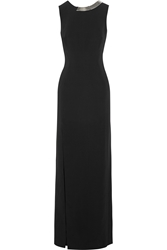 Thierry Mugler Embellished Backless Stretch Crepe Gown