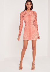 Missguided Carli Bybel Long Sleeve Lace Cut Out Bodycon Dress Pink Pink