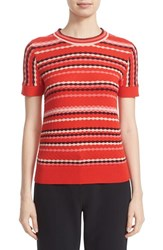 Kate Spade Women's New York Scallop Stripe Cotton Blend Sweater Persimmon Grove