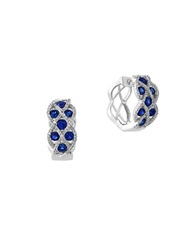 Effy Royale Bleu Sapphire Diamond And 14K White Gold Lattice Hoop Earrings Blue