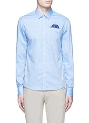Scotch And Soda Patterned Jacquard Cotton Shirt Blue