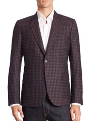 Paul Smith Checkered Wool Two Button Jacket Blue