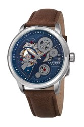 Akribos Xxiv Men's Leather Strap Watch Blue