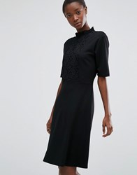 B.Young High Neck Dress With Lace Front Black