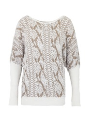 Morgan Shaggy Sweater With Snakeskin Pattern White
