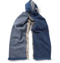 Loewe Colour Block Wool And Cashmere Blend Scarf Blue
