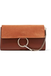Chloe Faye Leather And Suede Clutch Tan