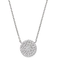 Bloomingdale's Diamond Cluster Circle Pendant Necklace In 14K White Gold 1.80 Ct. T.W.