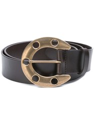 Dolce And Gabbana Horse Shoe Buckle Belt Brown