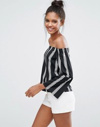 Influence Off The Shoulder Top With Bell Sleeve Black