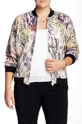 Mynt 1792 Perforated Print Jacket Plus Size Multi