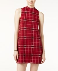 Pink Rose Juniors' Plaid Shift Dress Red Combo