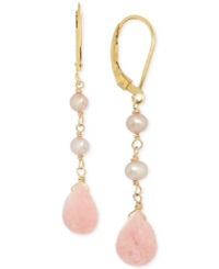 Macy's Pink Opal 5 Ct. T.W. And Cultured Freshwater Pearl 3Mm 3 1 2Mm Drop Earrings In 14K Gold Plated Sterling Silver