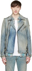 Balmain Blue Denim Biker Jacket