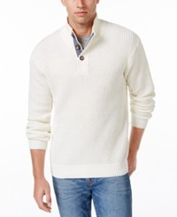 Weatherproof Vintage Men's Big And Tall Mock Turtleneck Button Sweater Off White