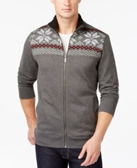 Club Room Sherpa Lined Full Zip Mock Neck Sweater Only At Macy's Dark Lead Heather