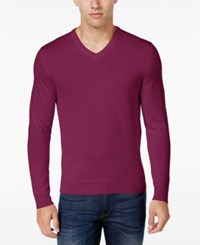Club Room Men's Big And Tall Merino Wool V Neck Sweater Only At Macy's Berry Glaze