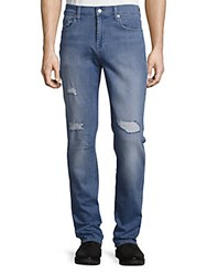 7 For All Mankind Slimmy Slim Straight Leg Distressed Jeans Kennedy