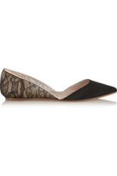 Giambattista Valli Lace Covered Mesh And Faille D'orsay Flats Black