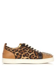 Christian Louboutin Louis Junior Low Top Leather Trainers Brown Multi
