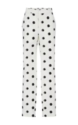 Monique Lhuillier Polka Dot Straight Leg Trousers White