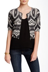 Chelsea And Theodore Zip Front Printed Cardigan Petite Black