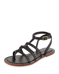 Bernardo Madison Snake Embossed Caged Sandal Black