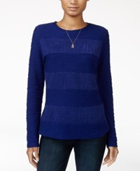 Maison Jules Lace Knit Top Only At Macy's Bright Sapphire