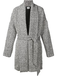 Deveaux Melange Belted Cardigan Coat Black