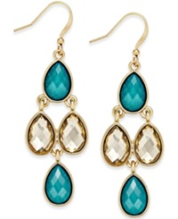 Style And Co. Gold Tone Crystal Drop Earrings Only At Macy's Teal