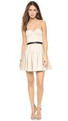 Alice Olivia Simoes Strapless Bustier Mini Dress Stone