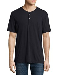James Perse Short Sleeve Knit Henley Shirt Navy Men's