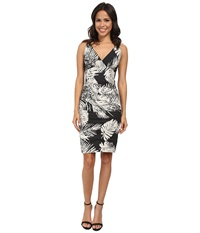 Nicole Miller Krista Palm Batik Cotton Metal Dress Black White Women's Dress