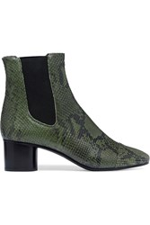 Isabel Marant Danae Python Effect Leather Ankle Boots Army Green Snake Print