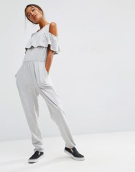 Asos Jumpsuit With Layered Cold Shoulder Detail Grey