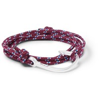 Miansai Cord And Silver Plated Hook Wrap Bracelet Burgundy