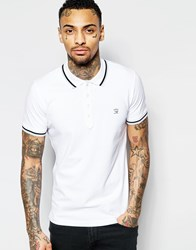 Diesel Polo T Bleach Slim Fit Pique Bleach Denim Collar And Pocket In White White