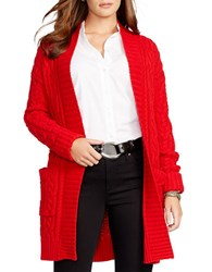 Lauren Ralph Lauren Plus Cable Knit Open Front Cardigan Madison Red
