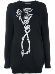 Moschino Skeleton Intarsia Jumper Dress Black