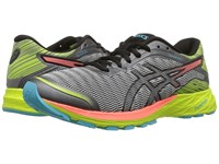 Asics Dynaflyte Mid Grey Flash Coral Safety Yellow Women's Running Shoes Gray